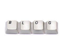 Les lettres se sont rassemblées du blog de boutons de clavier numérique d'ordinateur d'isolement Images stock