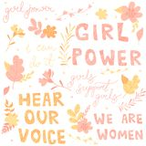 Les lettres tirées par la main, expressions ont commencé le féminisme, des fleurs et des plantes, illustration illustration stock