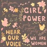 Les lettres tirées par la main, expressions ont commencé le féminisme, des fleurs et des plantes, illustration colorée illustration libre de droits