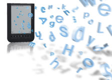 les lettres volant dans e réservent Image stock