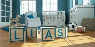 Les lias de nom écrits avec les cubes en bois en jouet chez la pièce du ` s des enfants Image stock