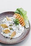Les Libanais du Moyen-Orient de concombre de yaourt de Laban plongent le casse-croûte photographie stock