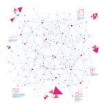 Les lignes et les points abstraits dans l'espace de techno tracent Image stock