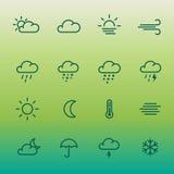 Les lignes icône de forcast de temps ont placé sur le gradient vert Images libres de droits