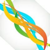 Les lignes lumineuses onduleuses élégantes abstraites ont placé dans des couleurs vertes oranges bleues Photos libres de droits