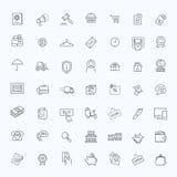Les lignes minces icônes de Web ont placé - le commerce électronique, faisant des emplettes Photos libres de droits
