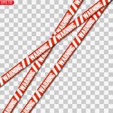 Les lignes noires et jaunes et rouges de précaution ont isolé illustration de vecteur