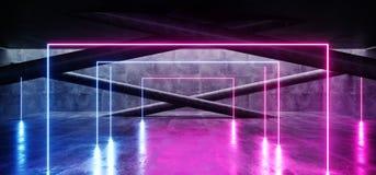 Les lignes rougeoyantes au n?on lumi?res blanches vides modernes lumineuses concr?tes grunges bleues de Sci fi Hall Garage Tunnel illustration libre de droits