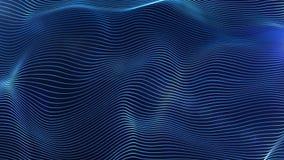 Les lignes rougeoyantes bleues futuristes particules ondulent le fond abstrait Image stock