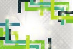 les Lignes Vertes encadrent aux coins, fond abstrait Image stock