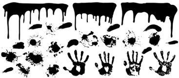 Les limandes réglées de brosse de peinture grunge d'éclaboussure ont commencé à couler Images stock