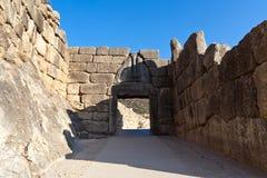 Les lions déclenchent, Mycenae, Grèce Images stock