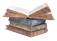 les livres bondissent la vieille pile en cuir photos libres de droits