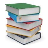 Les livres cinq 5 manuels de couvertures en blanc empilent différent coloré illustration stock