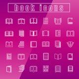Les livres d'icônes de vecteur amincissent la ligne blanc Photos libres de droits