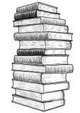 Les livres dans une illustration de rangée, dessin, gravure, encre, le schéma, vectorStack d'illustration de livres, dessin, grav Photo libre de droits