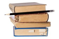 les livres de fond d'isolement empilent le blanc Photo libre de droits