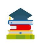 Les livres et le chapeau d'université Photographie stock
