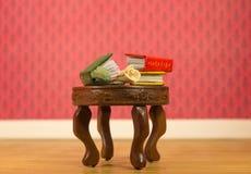 Les livres miniatures avec se sont levés sur la table Image stock