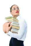 les livres ont effrayé la femme photo libre de droits