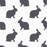 Les lièvres silhouettent le modèle sans couture Fond de viande de lapin Photographie stock