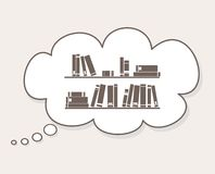 Les livres sur l'étagère dans la bulle de la parole montent en ballon Photographie stock