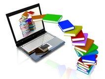 Les livres volent dans l'ordinateur portable Photos stock