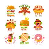 Les logos d'aliments de préparation rapide menu placent, de nourritures et de boissons, hamburger, hot-dog, pizza, taco, café, be illustration libre de droits