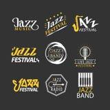 Les logos de festival de jazz ont placé d'isolement sur le fond noir illustration stock