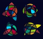 Les logos de photo d'art de cubisme ont placé, vitrail coloré Ensemble décoratif abstrait d'isolement de logo, conception en lamb Images stock