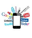 Les logos sociaux et moi téléphonons au 4 Photo libre de droits