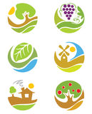 Les logos sur l'agriculture de thème Photo libre de droits