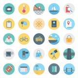 Les loisirs, le voyage et l'icône de vecteur d'isolement par visite consistent avec le sac, le passeport, le sycle, la route, le  illustration libre de droits
