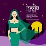 Les longs cheveux de belles femmes avec la conception de robe d'Inde Photos libres de droits