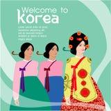 Les longs cheveux de belles femmes avec la conception de robe de la Corée, conception de vecteur Photo stock