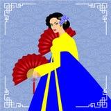Les longs cheveux de belles femmes avec la conception de robe de la Corée, conception de vecteur Photographie stock