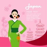 Les longs cheveux de belles femmes avec la conception de robe du Japon Photo libre de droits
