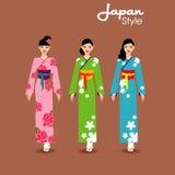 Les longs cheveux de belles femmes avec la conception de robe du Japon, conception de vecteur Photo stock
