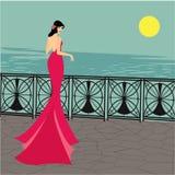 Les longs cheveux de belles femmes avec la conception rose de robe, conception de vecteur Photographie stock