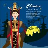 Les longs cheveux de belles femmes avec le Chinois habillent la conception Photos libres de droits