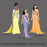 Les longs cheveux de belles femmes dans la conception de robe, conception de vecteur Photographie stock