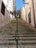 Les longs escaliers lèvent une rue accidentée Photo libre de droits