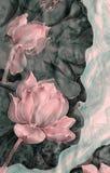Les lotus batik Composition décorative des fleurs, feuilles, bourgeons Employez les matériaux imprimés, signes, articles, sites W Photo stock