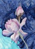 Les lotus batik Composition décorative des fleurs, feuilles, bourgeons Employez les matériaux imprimés, signes, articles, sites W Image libre de droits