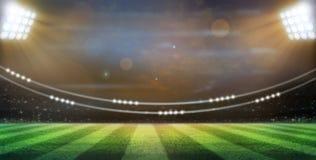 Les lumières à la nuit et au stade 3d rendent, Images stock
