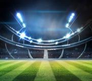 Les lumières à la nuit et au stade 3d rendent, Photo stock