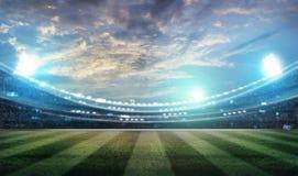Les lumières à la nuit et au stade 3d rendent, Photographie stock libre de droits
