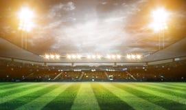 Les lumières à la nuit et au stade 3d rendent, Photos libres de droits