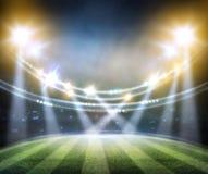 Les lumières à la nuit et au stade 3d rendent, Photos stock