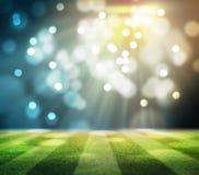 Les lumières à la nuit et au stade 3d rendent, Image libre de droits